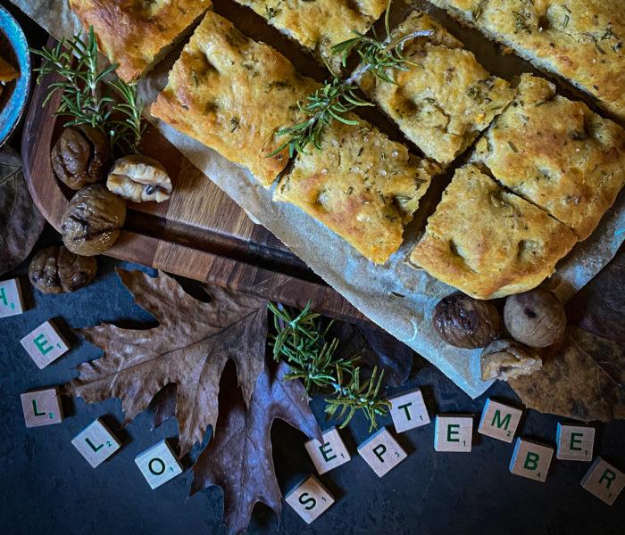 Focaccia d'autunno con castagne e patate dolci