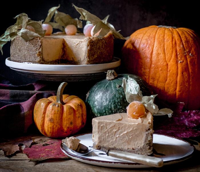 Cheesecake senza cottura con zucca, zenzero e lime